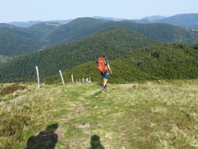 Un randonneur vu de dos au Ballon d'Alsace dans les Vosges
