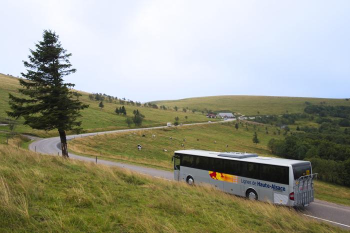 Un bus de la navette des crêtes dans les Vosges circule