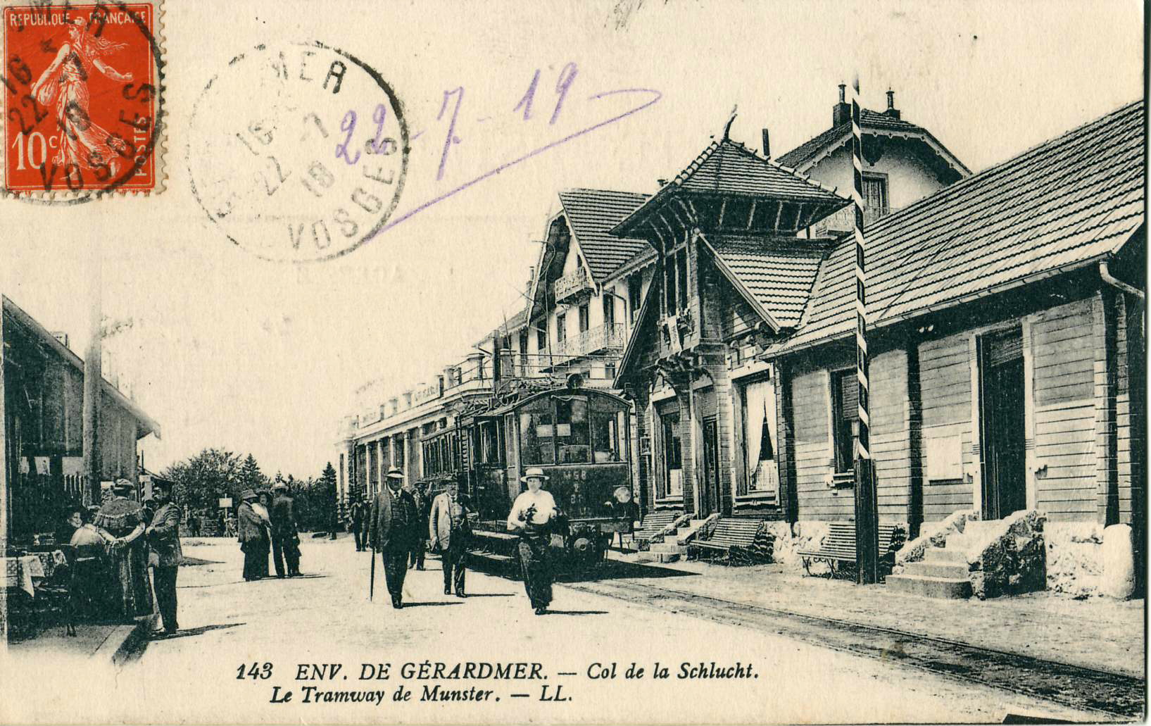 Carte postale du début du XXe siècle montrant la gare d'arrivée de la Schlucht