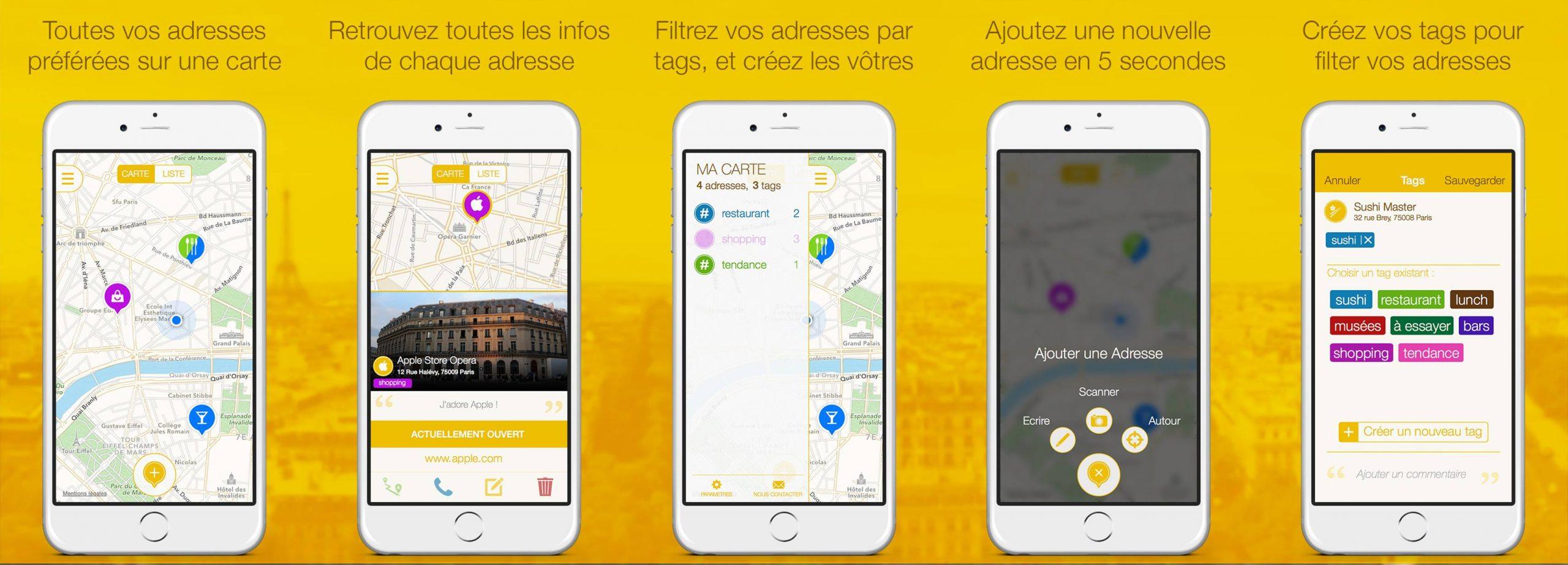 captures d'écran de l'application Mapstr