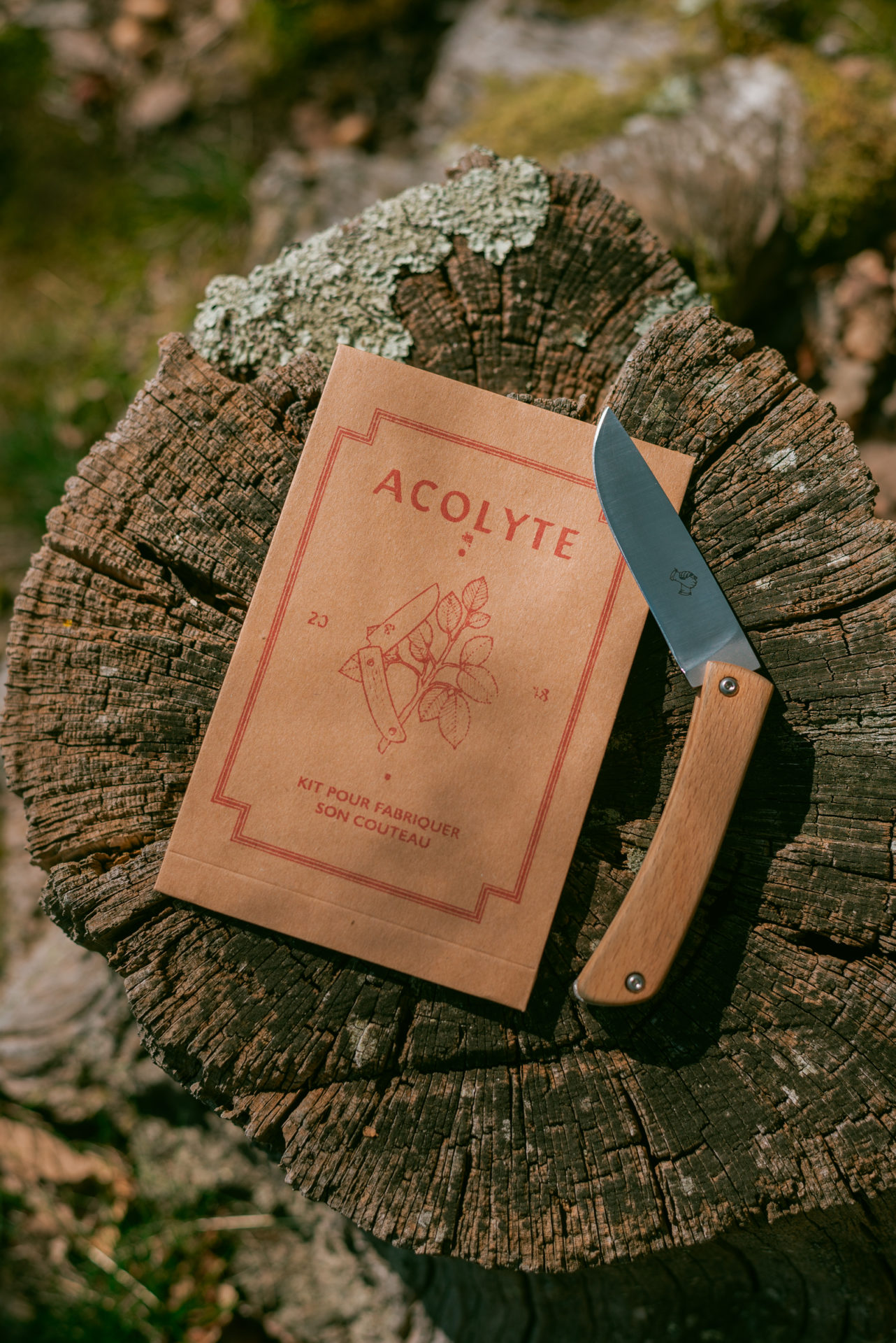 couteau de poche acolyte posé sur une souche d'arbre