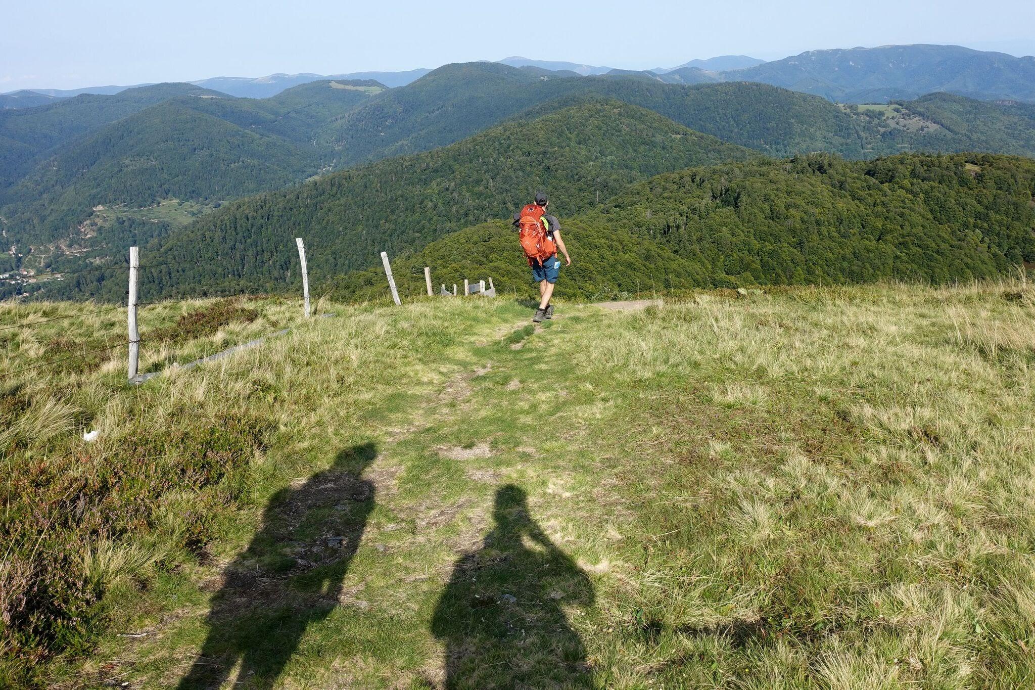Randonneur dans les Vosges de dos face à un panorama de montagnes