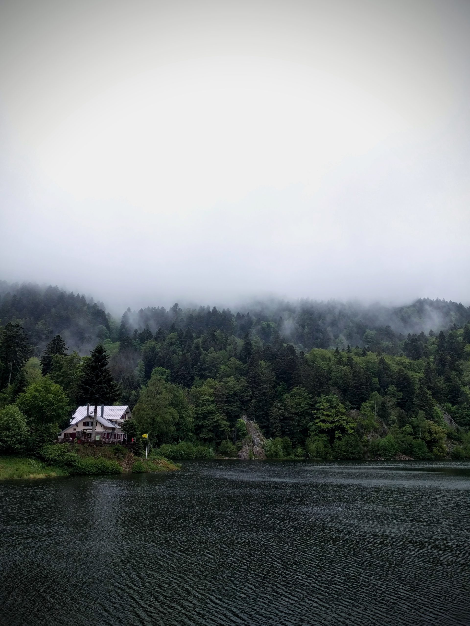 L'auberge-refuge du Neuweiher entouré de forêts