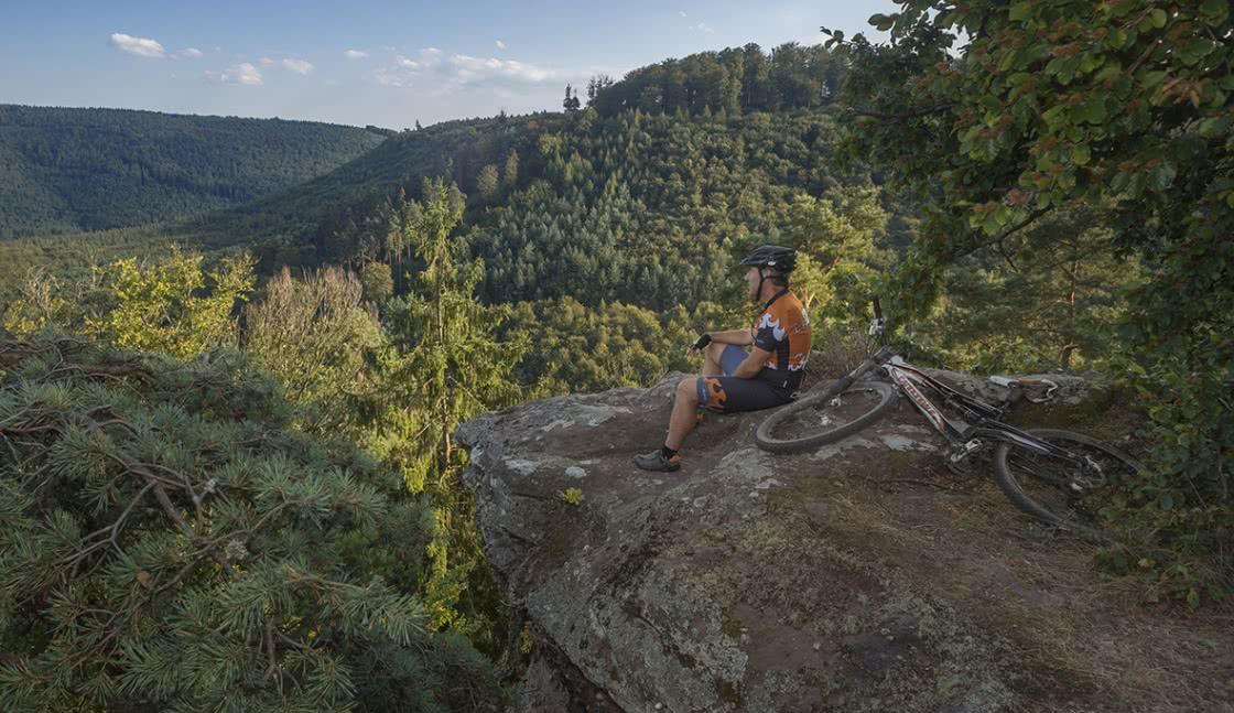 Un homme admire un paysage pendant une rando en VTT dans les Vosges