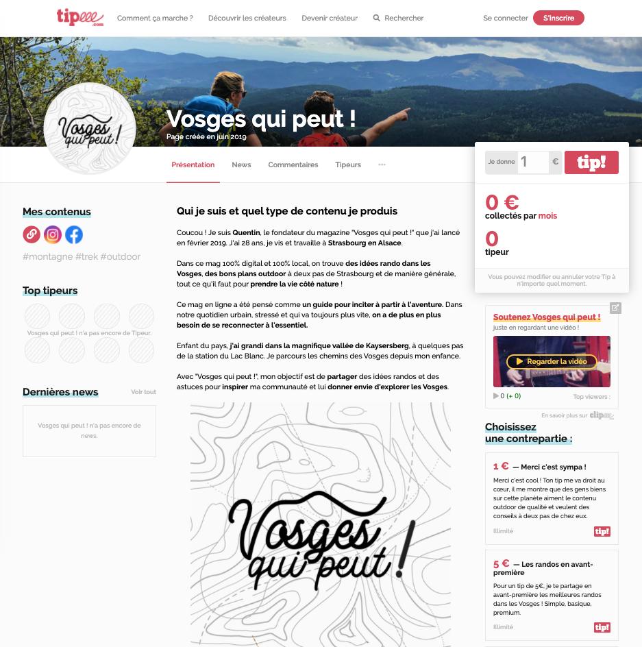 La page Tipeee du blog de montagne Vosges qui peut !