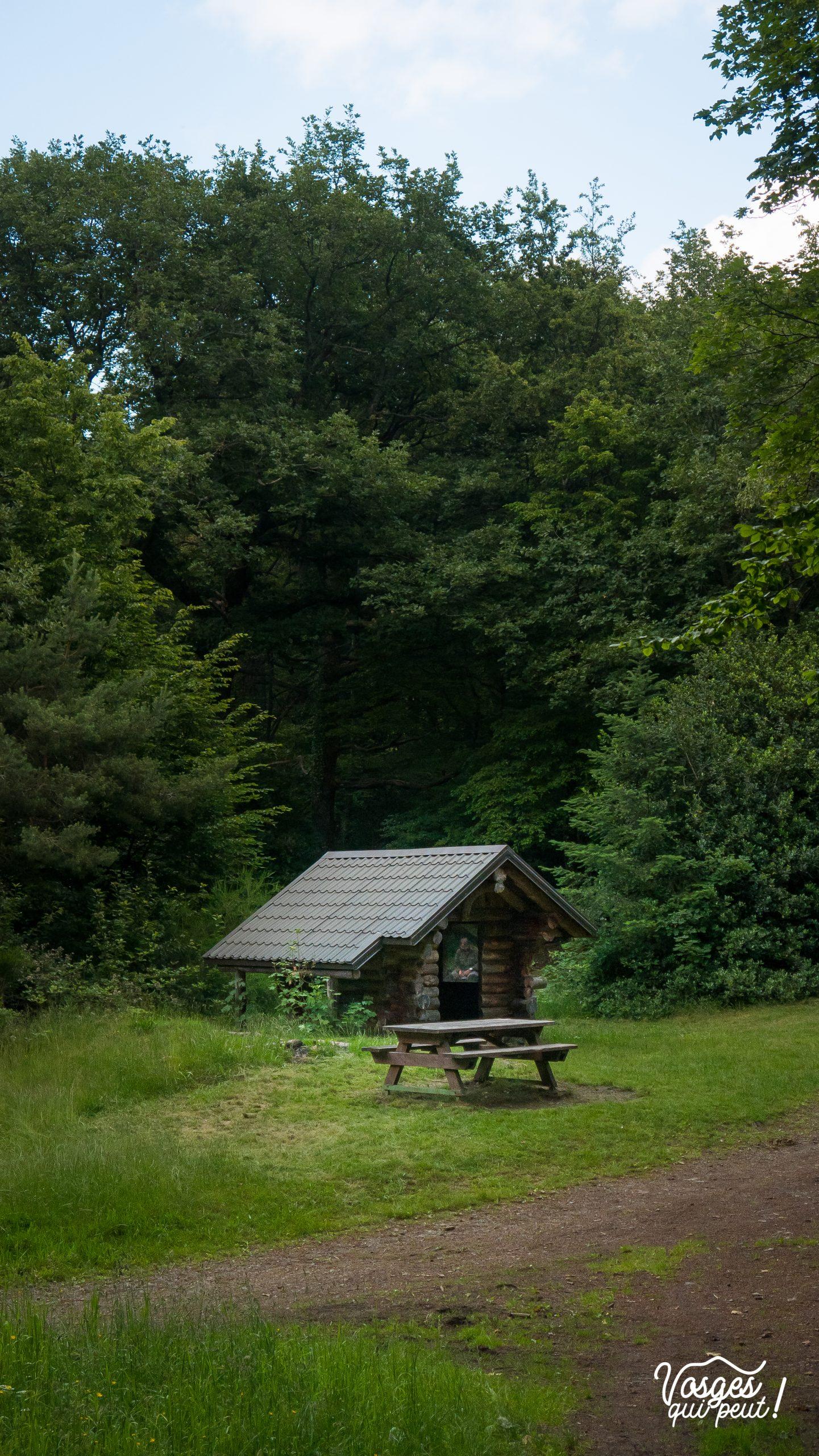 Abri du col de Peternit au milieu des bois dans les Vosges