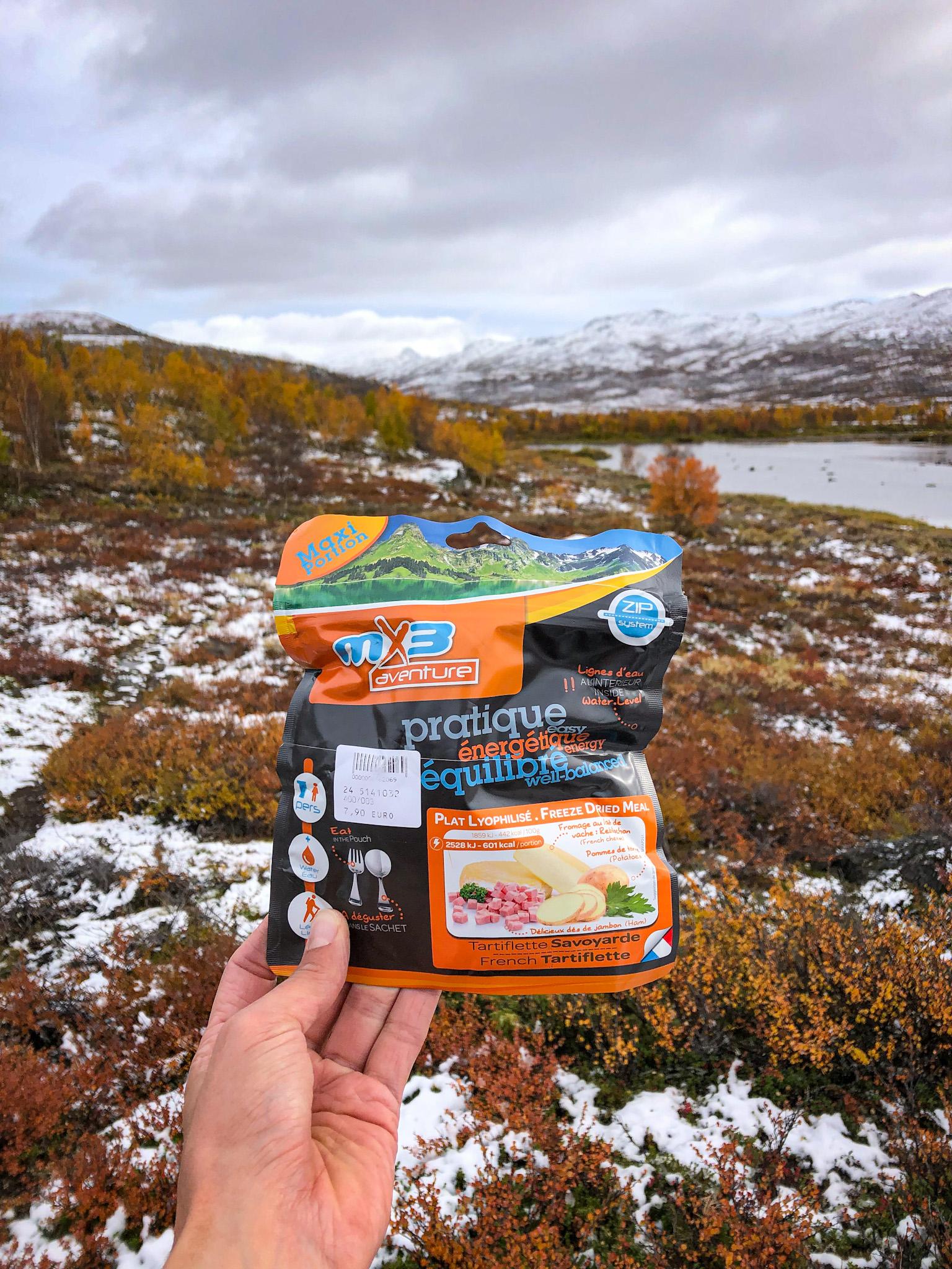 Repas lyophylisé pendant un trek en Suède