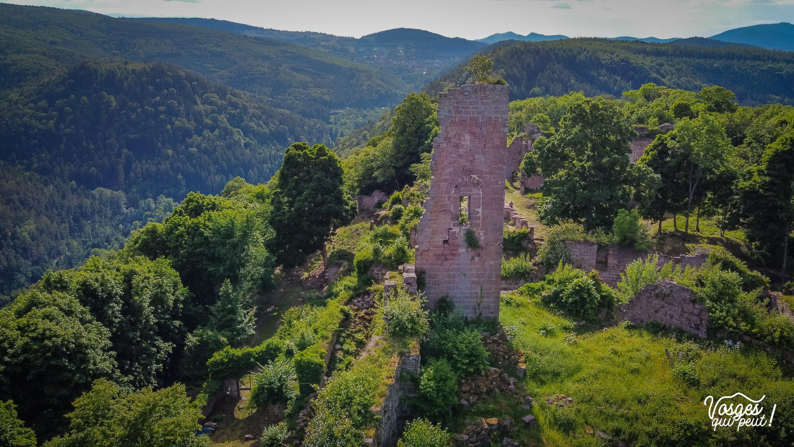 Vue aérienne sur les ruines du donjon du château de Guirbaden