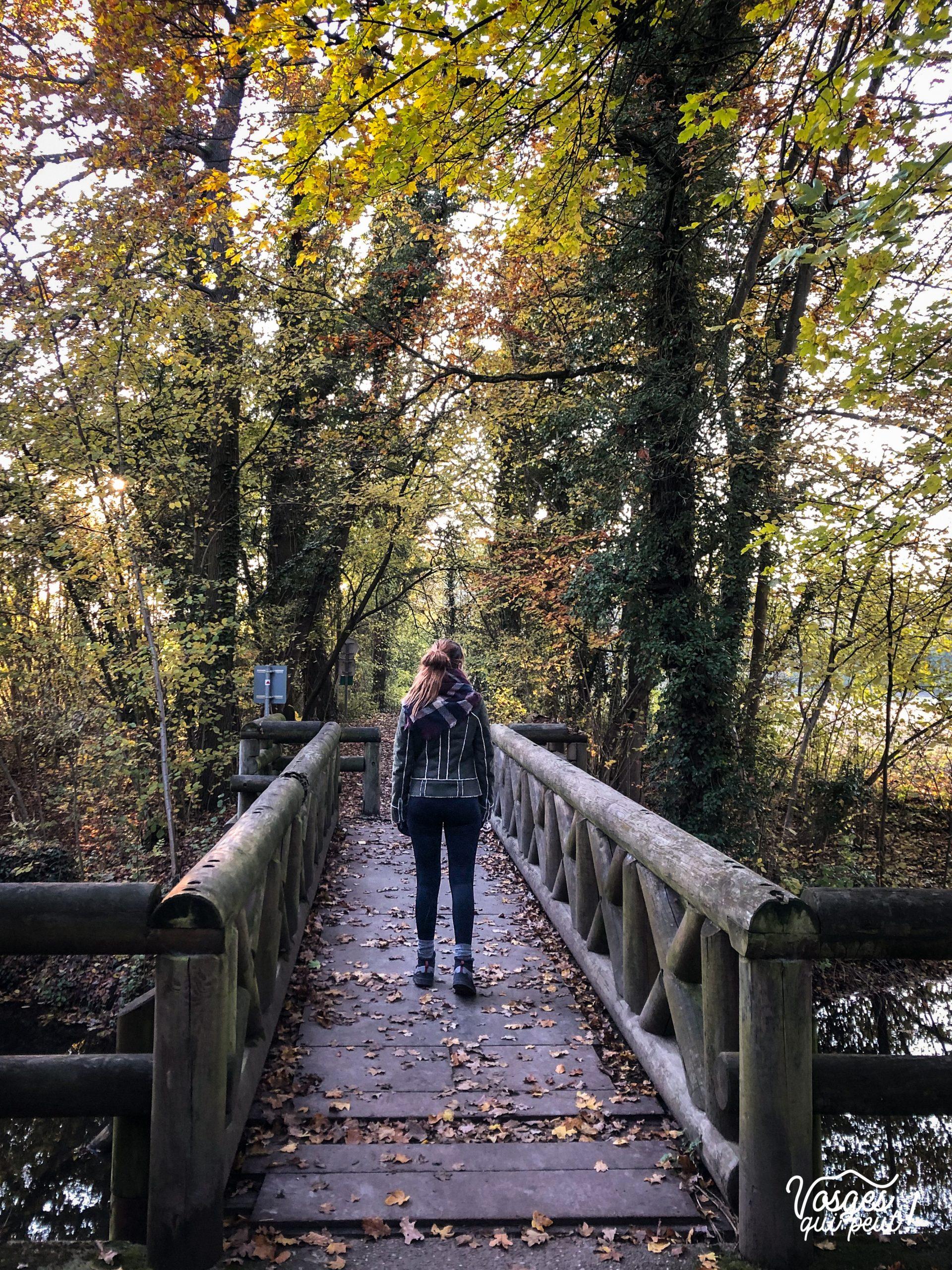 Une jeune fille pendant une rando sur le sentier de la faisandrie à Strasbourg