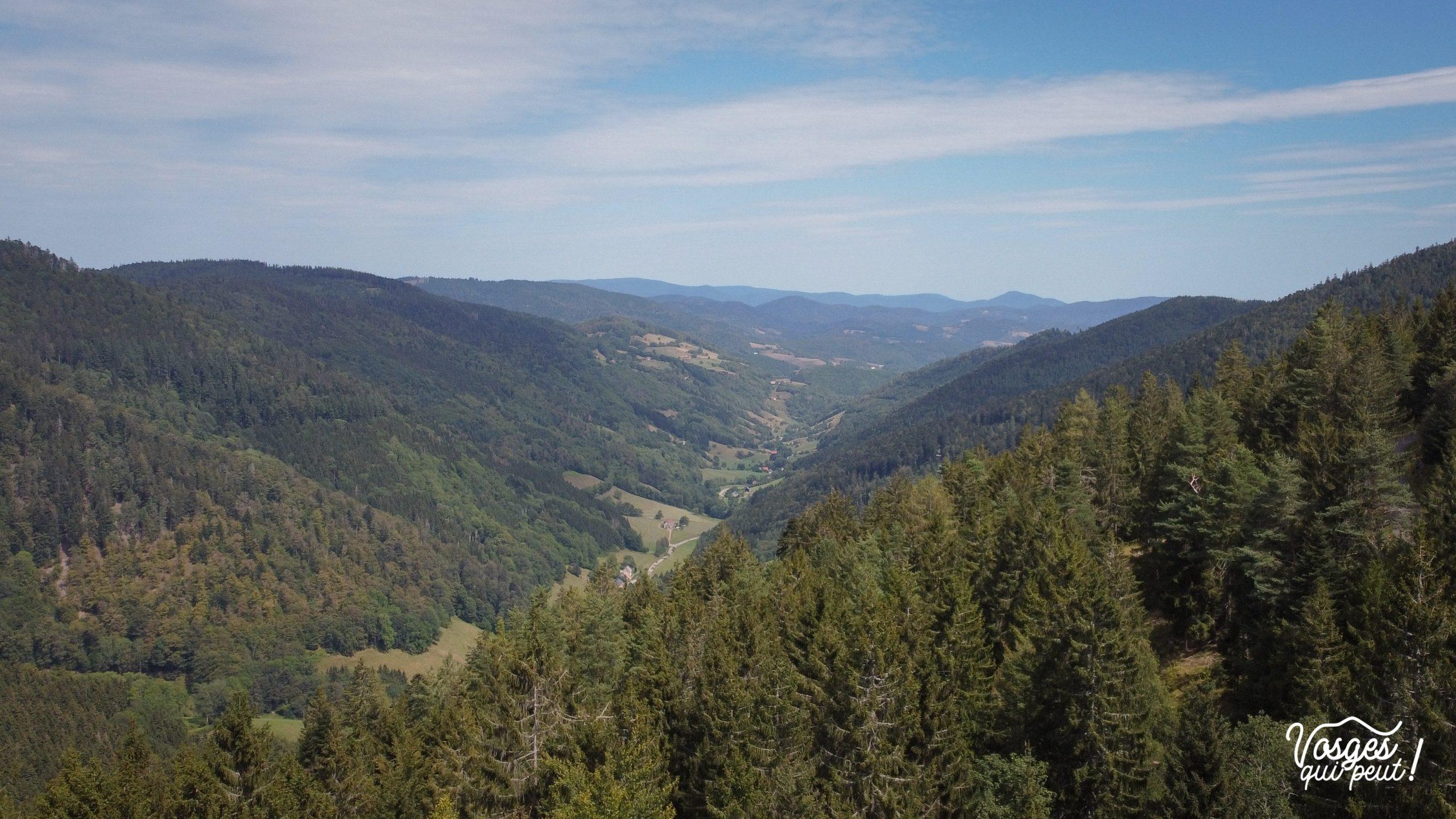 Vue aérienne de la vallée de Sainte-Marie-aux-Mines depuis le col des Bagenelles