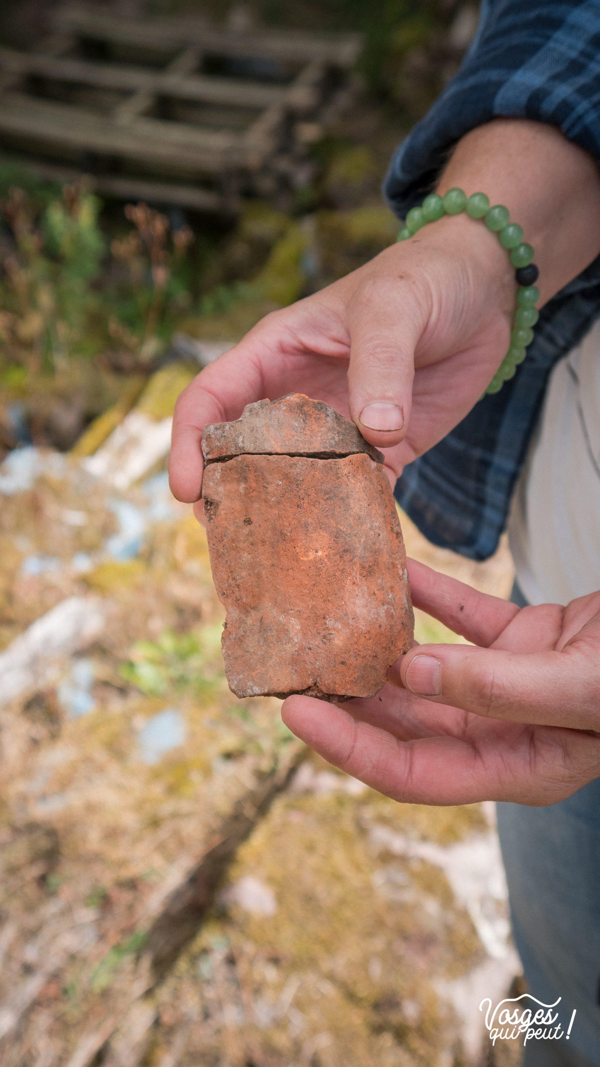 Une bénévole de l'association Les Veilleurs de Salm présente les reste d'une poterie en terre cuite trouvée sur le site