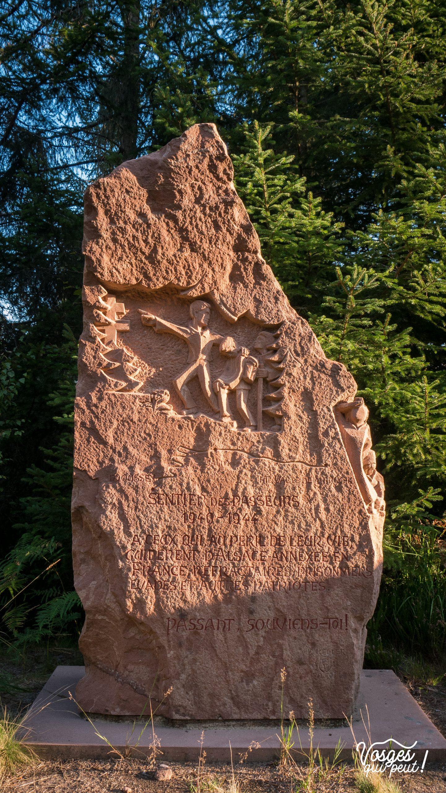 Le monument des Passeurs dans la vallée de la Bruche