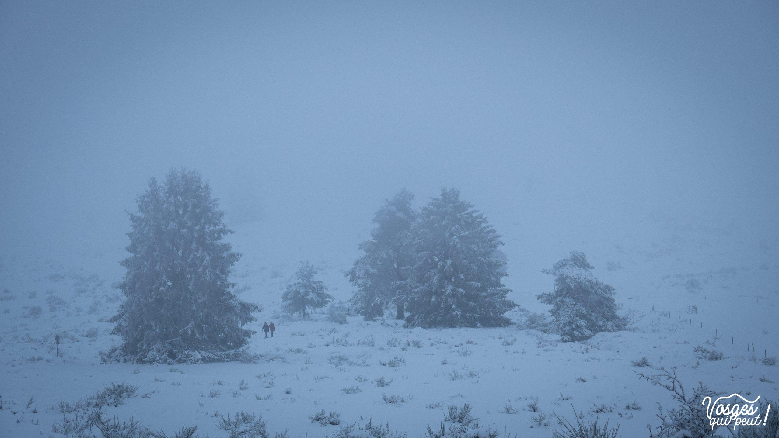 Le col de la Perheux en hiver pendant une rando en raquettes