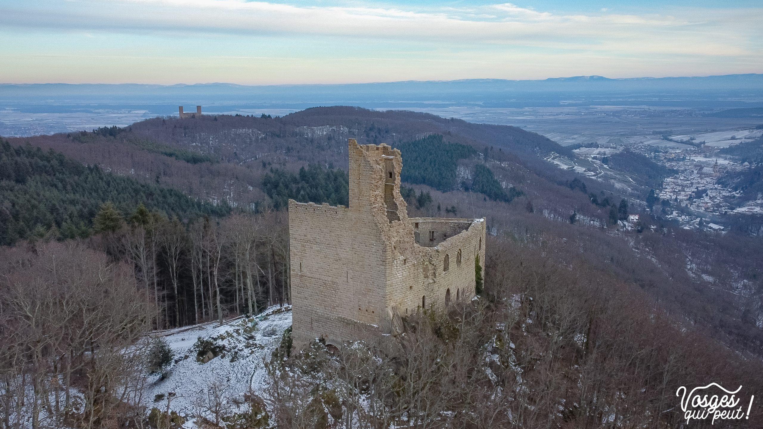 Vue aérienne du château du Spesbourg dans les Vosges