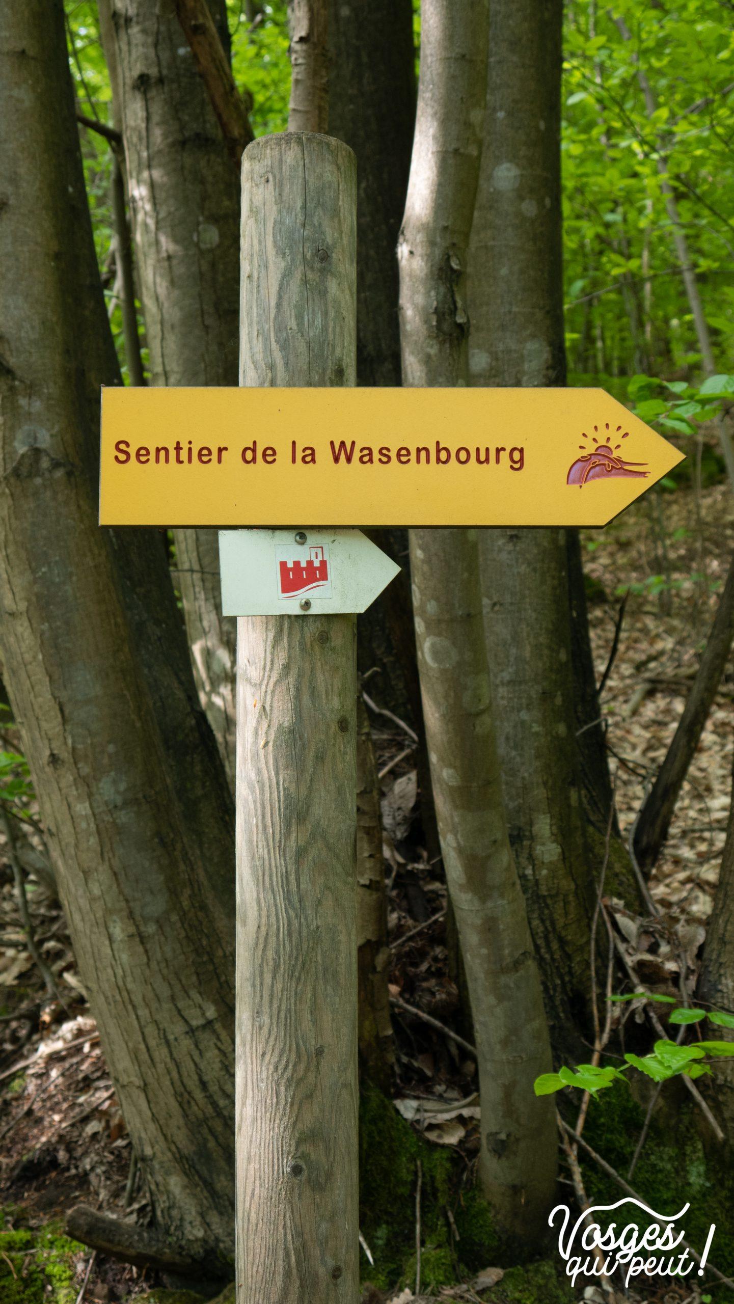Panneau directionnel dans les Vosges du Nord vers le château du Wasenbourg