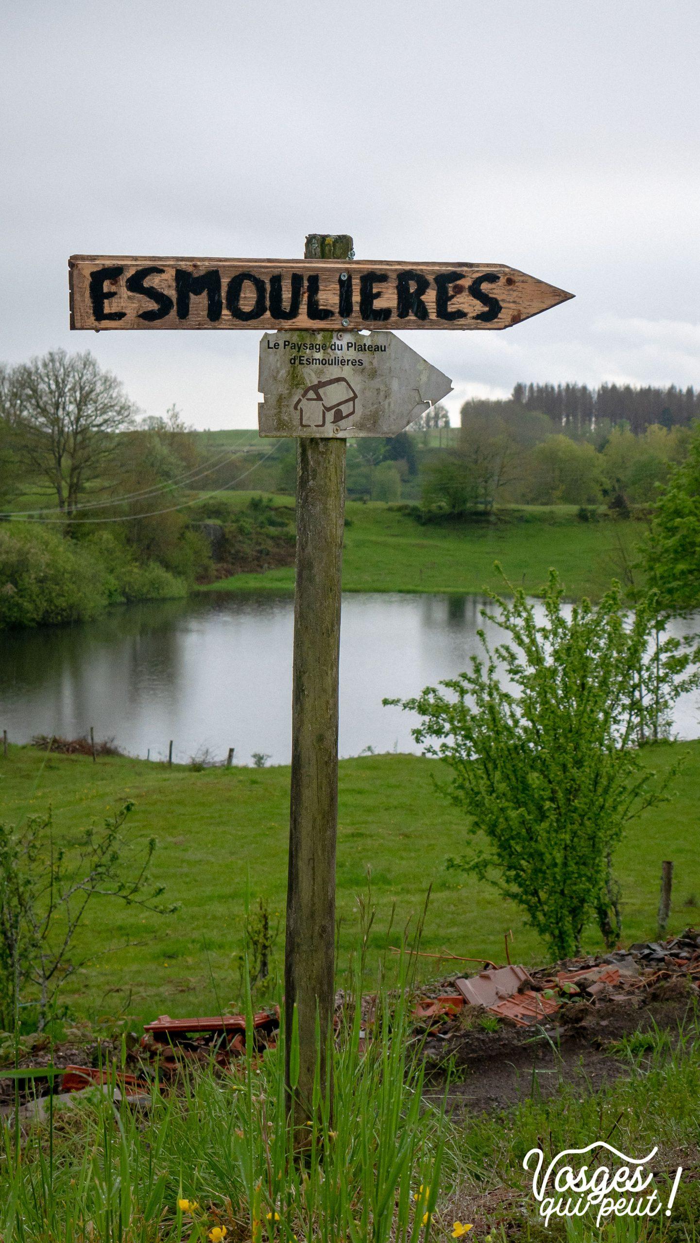 Panneau directionnel pour le village d'Esmoulières aux Mille Étangs