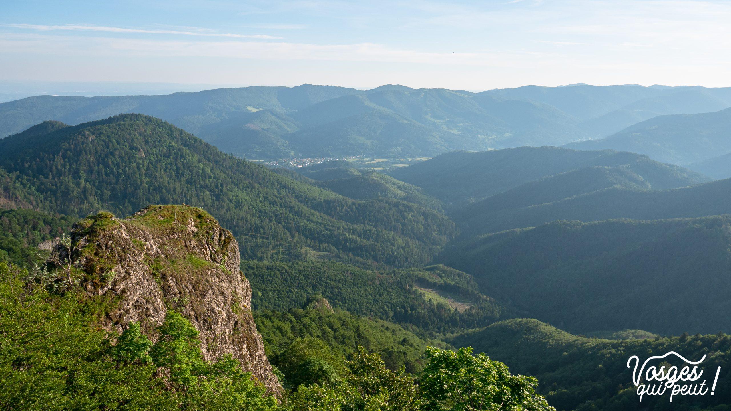 Vue depuis le rocher belvédère du Vogelstein dans le Massif des Vosges