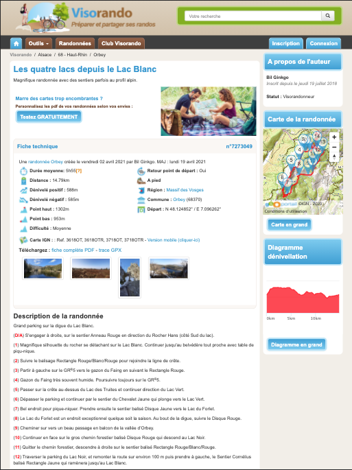 Capture écran du site visorando.com