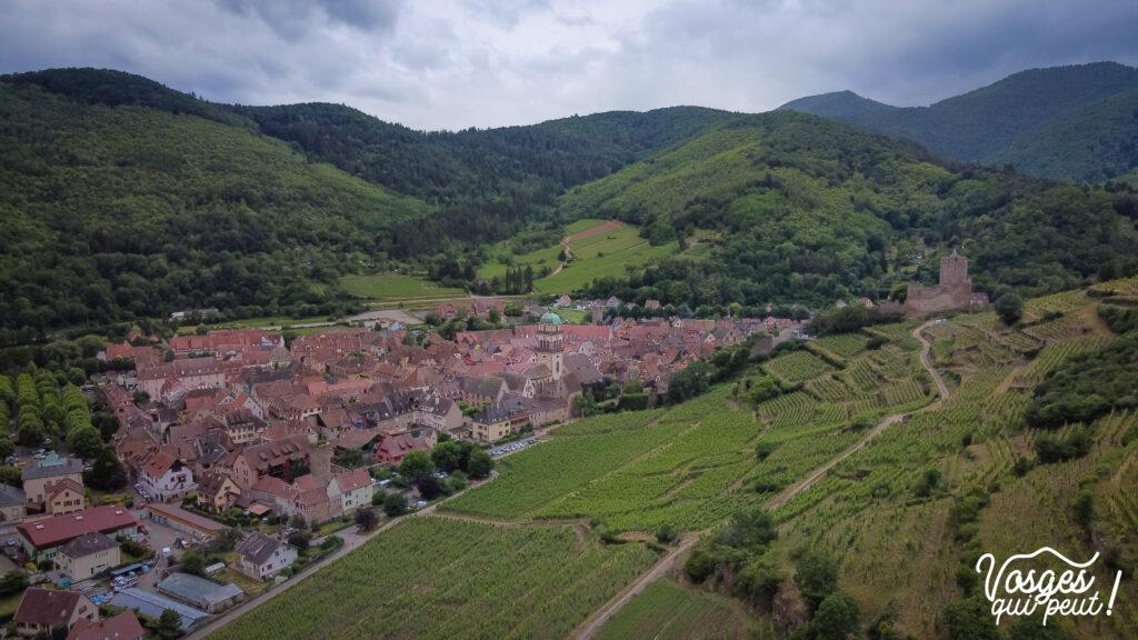 Vue sur le vignoble et le village de Kaysersberg dans le Massif des Vosges